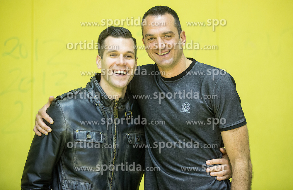 Sani Becirovic and Jasmin Hukic after the basketball match between KK Krka and KK Union Olimpija in Round #7 of Telemach League for Slovenian National Champion 2014/15 on April 18, 2015 in Dvorana Leona Stuklja, Novo mesto, Slovenia. Photo by Vid Ponikvar / Sportida