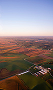 Aerial photograph of sunrise over rural Dane County, Wisconsin.