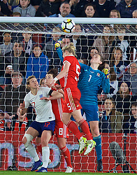 SOUTHAMPTON, ENGLAND - Friday, April 6, 2018: Wales' goalkeeper Laura O'Sullivan during the FIFA Women's World Cup 2019 Qualifying Round Group 1 match between England and Wales at St. Mary's Stadium. (Pic by David Rawcliffe/Propaganda)