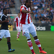 Stoke City F.C. Striker CAMERON JEROME (33) attempts to pass the ball to Stoke City F.C. Striker KENWYNE JONES (9) in the first half a MLS regular season international friendly match against the Philadelphia Union Tuesday, July. 30, 2013 at PPL Park in Chester PA.
