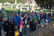 Thousands of voters visit the gravesite of Susan B. Anthony, the social reformer who played a key part in the movement for women's suffrage, at Mount Hope Cemetery in Rochester on Tuesday, November 8, 2016.