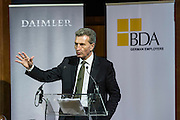 EU Commissioner Gunther H. Oettinger gives his keynote at the conference, Digital work environment – opportunities and challenges for companies and workforce, at Bibliotheque Solvay in Brussels 27 Januar 2016. Arranged by Daimler AG, BDA - Confederation of German Employers Associations. Photo: Erik Luntang