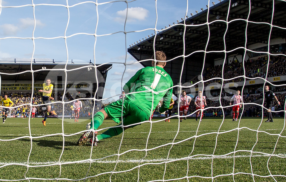 Goalkeeper Jamie Jones of Stevenage saves the penalty from Liam Sercombe of Oxford United during the Sky Bet League 2 match between Oxford United and Stevenage at the Kassam Stadium, Oxford, England on the 25th March 2016. Photo by Liam McAvoy.