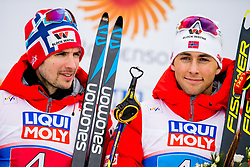 February 24, 2019 - Seefeld In Tirol, AUSTRIA - 190224 Jan Schmid and Jarl Magnus Riiber of Norway at the flower ceremony after the men's nordic combined team sprint during the FIS Nordic World Ski Championships on February 24, 2019 in Seefeld in Tirol..Photo: Vegard Wivestad GrÂ¿tt / BILDBYRN / kod VG / 170297 (Credit Image: © Vegard Wivestad Gr¯Tt/Bildbyran via ZUMA Press)
