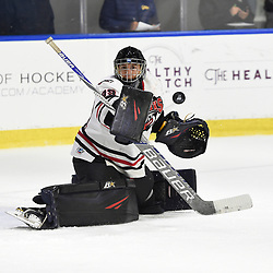 BUFFALO, NY - SEP 21,  2017: Ontario Junior Hockey League Governors Showcase game between the Trenton Golden Hawks and Milton Icehawks, Noah Battaglia #39 of the Milton Icehawks block the shot during the first period.<br /> (Photo by Andy Corneau / OJHL Images)