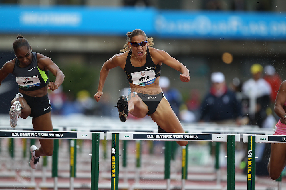Lolo Jones competes in the semi-finals of the 110m hurdles during day 2 of the U.S. Olympic Trials for Track & Field at Hayward Field in Eugene, Oregon, USA 23 Jun 2012..(Jed Jacobsohn/for The New York Times)....