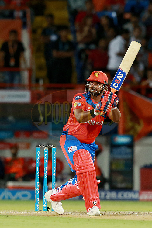 Suresh Raina captain of GL plays a shot during match 20 of the Vivo 2017 Indian Premier League between the Gujarat Lions and the Royal Challengers Bangalore  held at the Saurashtra Cricket Association Stadium in Rajkot, India on the 18th April 2017<br /> <br /> Photo by Rahul Gulati - Sportzpics - IPL