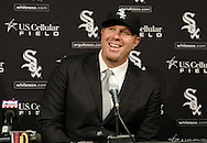 CHICAGO - DECEMBER 03:  Adam Dunn of the Chicago White Sox is introduced to the media during a press conference to announce his free agent signing with the Chicago White Sox on December 3, 2010 at U.S. Cellular Field in Chicago, Illinois.  (Photo by Ron Vesely)