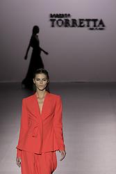 September 16, 2016 - Madrid, Spain - A model showcases designs by Roberto Torretta on the runway at the Roberto Torretta show during Mercedes-Benz Fashion Week Madrid Spring/Summer 2017 at Ifema on September 16, 2016 in Madrid, Spain. (Credit Image: © Oscar Gonzalez/NurPhoto via ZUMA Press)