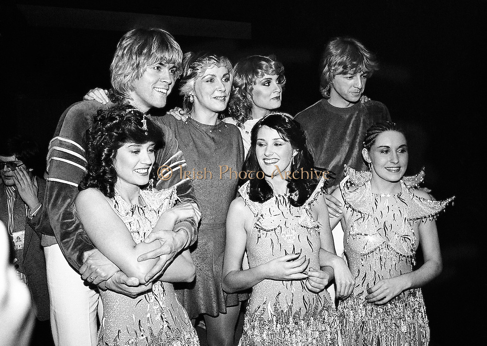 Eurovision Song Contest winners Buck's Fizz are congratulated by Irish entrants Sheba.<br /> 5 April 1981