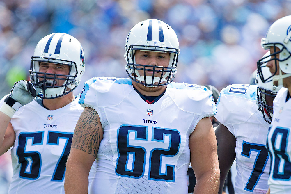 NASHVILLE, TN - SEPTEMBER 14:  Brian Schwenke #62 of the Tennessee Titans in the huddle during a game against the Dallas Cowboys at LP Field on September 14, 2014 in Nashville, Tennessee.  The Cowboys defeated the Titans 26-10.  (Photo by Wesley Hitt/Getty Images) *** Local Caption *** Brian Schwenke