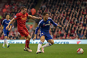 Eden Hazard (Chelsea) turns James Milner (Liverpool) during the Barclays Premier League match between Liverpool and Chelsea at Anfield, Liverpool, England on 11 May 2016. Photo by Mark P Doherty.