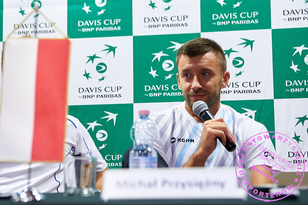 Michal Przysiezny of Poland while press conference during Davis Cup Tie World Group Play-off Poland v Slovakia at Gdynia Arena Hall in Gdynia, Poland.<br /> <br /> Poland, Gdynia, September 20, 2015<br /> <br /> Picture also available in RAW (NEF) or TIFF format on special request.<br /> <br /> For editorial use only. Any commercial or promotional use requires permission.<br /> <br /> Adam Nurkiewicz declares that he has no rights to the image of people at the photographs of his authorship.<br /> <br /> Mandatory credit:<br /> Photo by &copy; Adam Nurkiewicz / Mediasport