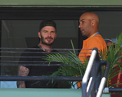 KEY BISCAYNE, FL - APRIL 01 : Victoria Beckham and David Beckham seen watching John Isner Vs Alexander Zverev during the mens final during the 2018 Miami Open at Crandon Park Tennis Center on April 1, 2018 in Key Biscayne, Florida. CAP/MPI04 ©MPI04/Capital Pictures. 01 Apr 2018 Pictured: David Beckham, James Blake. Photo credit: MPI04/Capital Pictures / MEGA TheMegaAgency.com +1 888 505 6342