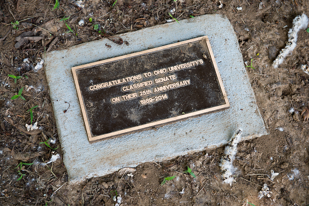 Newly dedicated plaque at Emerti Park. Photo by Ben Siegel/ Ohio University