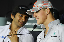 28.10.2011, Jaypee-Circuit, Noida, IND, F1, Grosser Preis von Indien, Noida, im Bild Michael Schumacher (GER), Mercedes GP - Narain Karthikeyan (IND), Hispania Racing Team // during the Formula One Championships 2011 Large price of India held at the Jaypee-Circui 2011-10-28  EXPA Pictures © 2011, PhotoCredit: EXPA/ nph/  Dieter Mathis        ****** only for AUT, SLO,POL ******