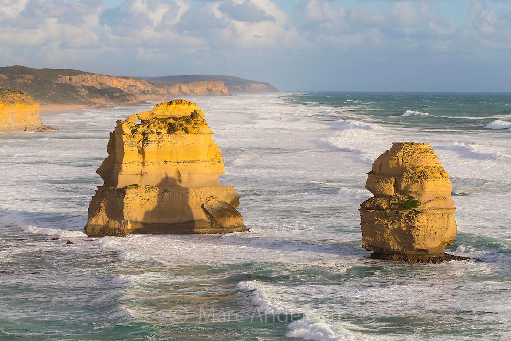 Sea Stacks in rough seas along the Great Ocean Road, Victoria, Australia