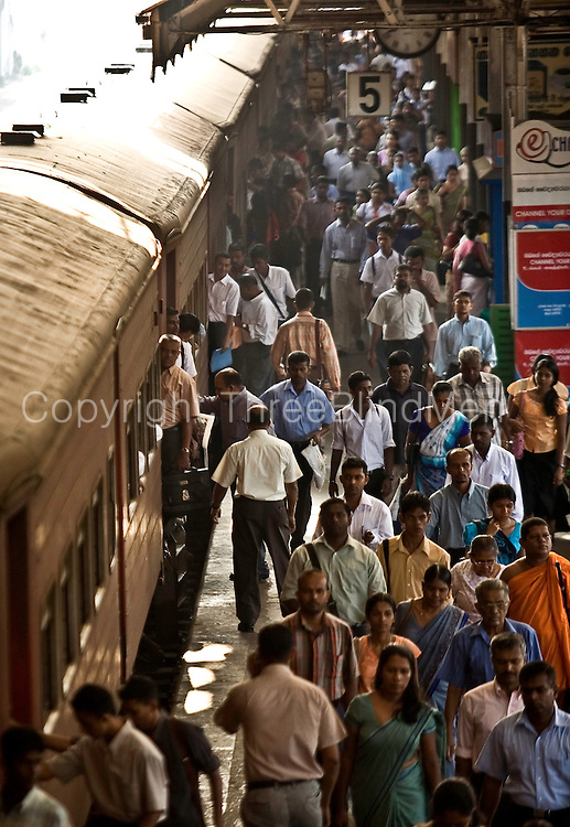 Fort Railway Station, Colombo, Sri Lanka.<br /> Morning rush hour.