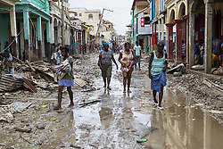 JEREMIE, Oct. 7, 2016 (Xinhua) -- Image provided by the United Nations Stabilization Mission in Haiti shows villagers walking through a flooded street after the pass of Hurricane Matthew, in Jeremie city, Haiti on Oct. 6, 2016. Haiti was hit hardest by Hurricane Matthew in the Caribbean region with more than 271 people reported dead as of Thursday evening. (Xinhua/Logan Abassi/UN/MINUSTAH) (jg) (fnc) ***MANDATORY CREDIT*** ***NO ARCHIVE*** ***NOT FOR SALES*** ***FOR EDITORIAL USE ONLY* (Credit Image: © [E]Logan Abassi/Un/Minustah/Xinhua via ZUMA Wire)