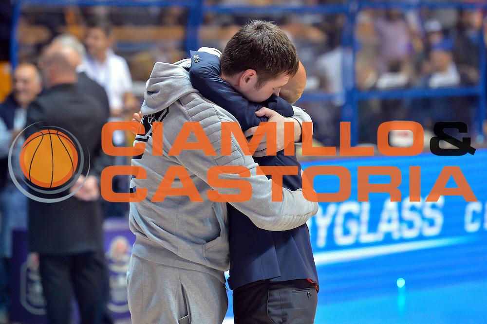 Dmitry Gerasimenko,Stefano Sardara<br /> Red October Cantu' vs Banco di Sardegna Sassari<br /> Basket Serie A 2016/2017<br /> Milano 23/10/2016<br /> Foto Ciamillo-Castoria