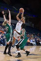 Virginia Cavaliers Forward Lyndra Littles (1) shoots the game winning shot with 2 second left.  The Virginia Cavaliers women's basketball team defeated The University of North Carolina - Charlotte 49ers 74-72 in the 2nd round of the Women's NIT at John Paul Jones Arena in Charlottesville, VA on March 19, 2007.