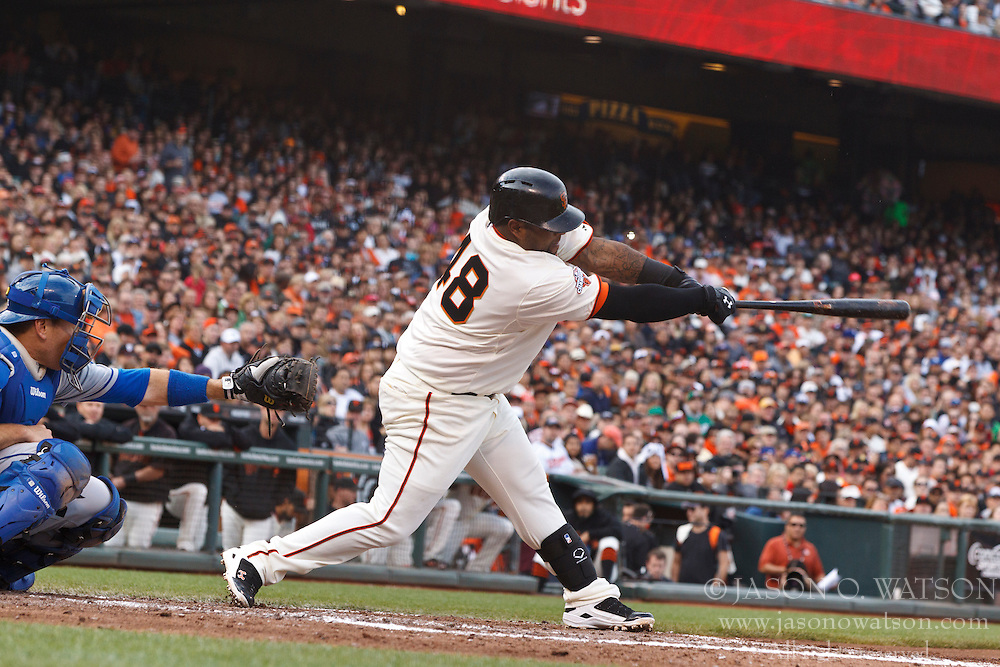 SAN FRANCISCO, CA - MAY 05: Pablo Sandoval #48 of the San Francisco Giants at bat against the Los Angeles Dodgers during the third inning at AT&T Park on May 5, 2013 in San Francisco, California. The San Francisco Giants defeated the Los Angeles Dodgers 4-3. (Photo by Jason O. Watson/Getty Images) *** Local Caption *** Pablo Sandoval