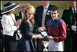 Princess Beatrice presents the winning prize in the parade ring at Royal Ascot 2013 Ascot, United Kingdom,<br /> Thursday, 20th June 2013<br /> Picture by Andrew Parsons / i-Images