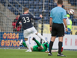 Falkirk's Rory Loy misses the penalty and the follow up is saved by Morton's keeper Derek Gaston.<br /> Falkirk 1 v 1 Morton, Scottish Championship game today at The Falkirk Stadium.<br /> &copy; Michael Schofield.