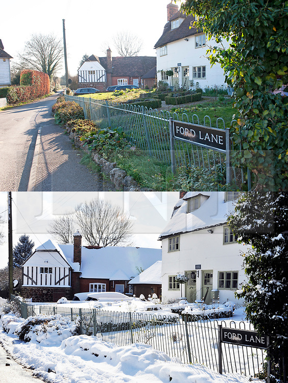 Licensed to London News Pictures. <br /> Comparison picture showing sunny and clear day at Trottiscliffe Village in Kent today, 25/02/2019 (TOP) compared to the same landscape covered in snow last year on 27/02/2018 (BOTTOM). Photo credit: Grant Falvey/LNP