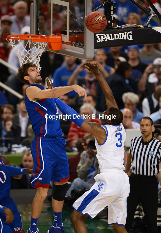 Apr 2, 2012; New Orleans, LA, USA; Kansas Jayhawks center Jeff Withey (5) blocks a shot by Kentucky Wildcats forward Terrence Jones (3) during the first half in the finals of the 2012 NCAA men's basketball Final Four at the Mercedes-Benz Superdome. Mandatory Credit: Derick E. Hingle-US PRESSWIRE