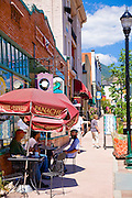 Enjoying the morning at a sidewalk cafe in Manitou Springs, Colorado