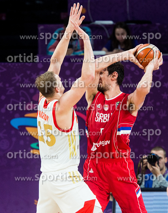 Timofey Mozgov of Russia vs Boban Marjanovic of Serbia during basketball match between National Teams of Russia and Serbia at Day 16 in Semifinal of the FIBA EuroBasket 2017 at Sinan Erdem Dome in Istanbul, Turkey on September 15, 2017. Photo by Vid Ponikvar / Sportida