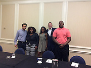Khan Academy founder Salman Khan and CollegeBoard President David Coleman with, from left, Tatiana Thelusma from Orlando and Booker T. Washington students Valencia Grayson and Matthew Blue.