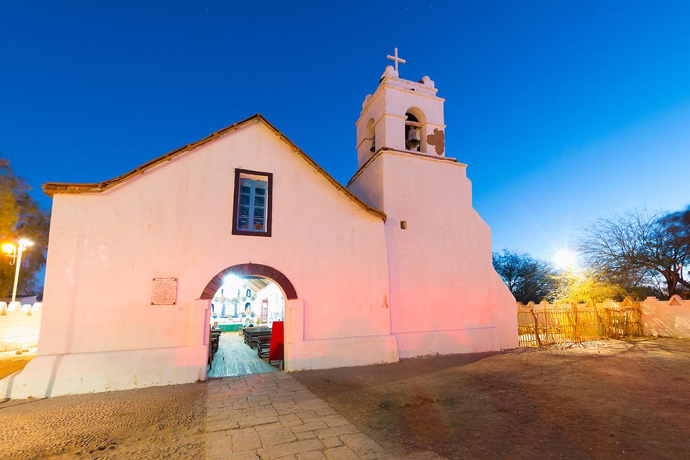 Church of San Pedro de Atacama at the main square, Atacama Desert, Chile