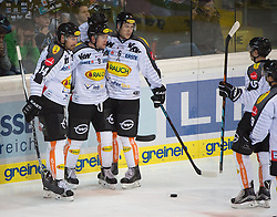 09.10.2015, Keine Sorgen Eisarena, Linz, AUT, EBEL, EHC Liwest Black Wings Linz vs Dornbirner Eishockey Club, 9. Runde, im Bild Christopher D Alvise (Dornbirner Eishockey Club) feeirt das 1 zu 0 // during the Erste Bank Icehockey League 9th round match between EHC Liwest Black Wings Linz and Dornbirner Eishockey Club at the Keine Sorgen Icearena, Linz, Austria on 2015/10/09. EXPA Pictures © 2015, PhotoCredit: EXPA/ Reinhard Eisenbauer