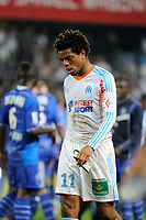 FOOTBALL - FRENCH CHAMPIONSHIP 2012/2013 - L1 - ES TROYES v OLYMPIQUE MARSEILLE  - 21/10/2012 - PHOTO JEAN MARIE HERVIO / REGAMEDIA / DPPI - DISAPPOINTMENT LOIC REMY (OM) AT THE END OF THE MATCH