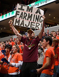 A UVA student makes fun of Virginia Tech.  The Virginia Cavaliers defeated the Virginia Tech Hokies 75-61 at the John Paul Jones Arena on the Grounds of the University of Virginia in Charlottesville, VA on February 18, 2009.