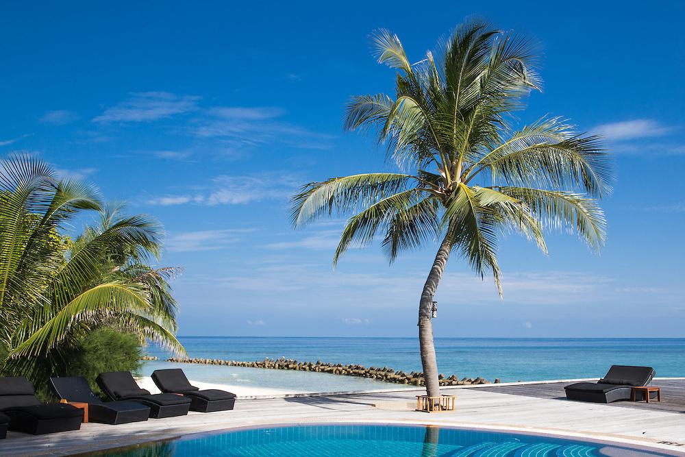 Swimming pools at Kuredu Island Resort in the Maldives<br /> <br /> Photo Jane Stokes