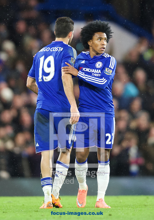 Diego Costa of Chelsea (19) celebrates after scoring the equaliser with Willian of Chelsea during the Barclays Premier League match at Stamford Bridge, London<br /> Picture by Alan Stanford/Focus Images Ltd +44 7915 056117<br /> 07/02/2016
