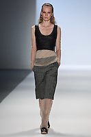 Jenny Sinkaberg walks the runway wearing Richard Chai Spring 2011 Collection during Mercedes Benz Fashion Week in New York on September 9, 2010