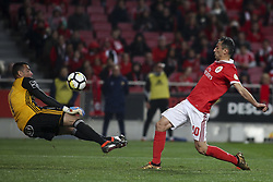 February 3, 2018 - Lisbon, Portugal - Benfica's forward Jonas scores a goal, next to Rio Ave's goalkeeper Cassio during the Portuguese League  football match between SL Benfica and Rio Ave FC at Luz  Stadium in Lisbon on February 3, 2018. (Credit Image: © Carlos Costa/NurPhoto via ZUMA Press)