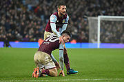 Aston Villa midfielder Jack Grealish (10) is consoled by Aston Villa midfielder Conor Hourihane (14) during the EFL Sky Bet Championship match between Aston Villa and Burton Albion at Villa Park, Birmingham, England on 3 February 2018. Picture by Richard Holmes.