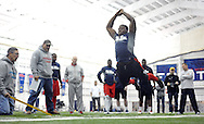 Former Ole Miss linebacker Serderius Bryant runs through a drill during Pro Day  at the Manning Center, in Oxford, Miss. on Thursday, March 5, 2015.