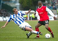 Photo: Scott Heavey<br />Brighton & Hove Albion V Rotherham United. 08/03/03  Nationwide Div 1 <br /><br />Richard Carpenter (left) slides in on Darren Byfield