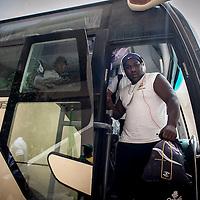 11/06/2013. Dakar, Senegal. Cirés Sam descend du bus de l'équipe de rugby du Senegal à son arrivée au stade Iba Mar Diop pour disputer premier match de la demi-finale de la Coupe d'Afrique des Nations B contre la Namibie. ©Sylvain Cherkaoui
