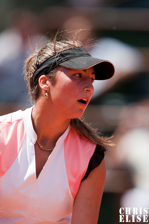 31 May 2009: Aravane Rezai of France serves during the Women's Singles fourth round match on day eight of the French Open at Roland Garros in Paris, France.