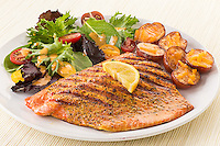 grilled Salmon,lemon,roasted potatoes,tossed salad