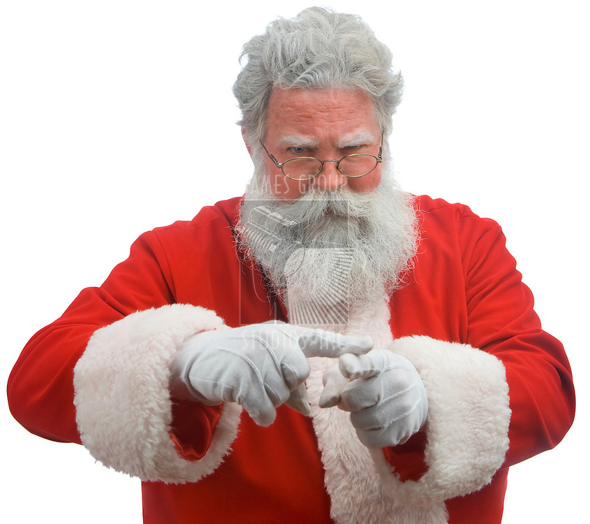 Santa on a white background making a scolding gesture