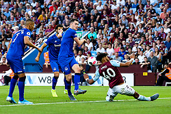 Michael Keane of Everton has a shot blocked by Tyrone Mings of Aston Villa - Mandatory by-line: Robbie Stephenson/JMP - 23/08/2019 - FOOTBALL - Villa Park - Birmingham, England - Aston Villa v Everton - Premier League