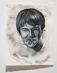 April 26, 2018 - Tampa, Florida, U.S. - A charcoal portrait of Parkland victim Alex Schachter, by Symone Hall in the BFA show at the Scarfone/Hartley Gallery at the University of Tampa, on April 26, 2018 in Tampa, Fla. (Credit Image: © Monica Herndon/Tampa Bay Times via ZUMA Wire)